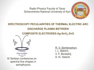 Spectroscopy peculiarities of thermal electric arc discharge plasma between