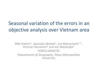 Seasonal variation of the errors in an objective analysis over Vietnam area