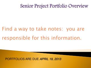 Senior Project Portfolio Overview