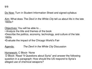 9/9 Do Now:  Turn in  Student  I nformation  Sheet and signed syllabus