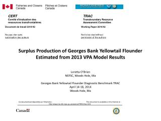 Surplus  Production of Georges Bank Yellowtail Flounder  Estimated  from 2013 VPA Model Results