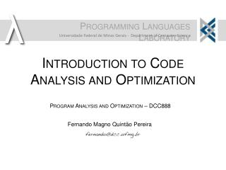 Introduction to Code Analysis and Optimization