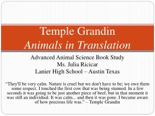 Temple  Grandin Animals in Translation