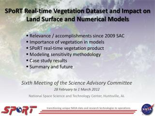 SPoRT Real-time Vegetation Dataset and Impact on Land Surface and Numerical Models