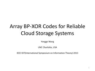 Array BP-XOR Codes for Reliable Cloud Storage Systems