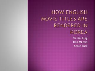 How English movie titles are rendered in Korea