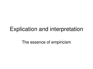 Explication and interpretation