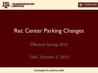 Rec Center Parking Changes