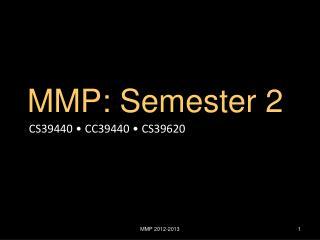 MMP :  Semester 2