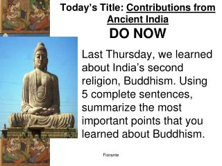 Today's Title:  Contributions from Ancient India DO NOW