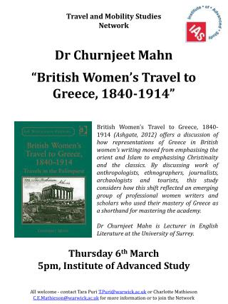 Thursday 6 th  March 5pm, Institute of Advanced Study