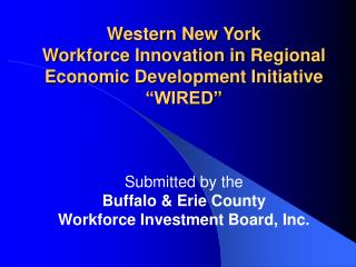 Western New York Workforce Innovation in Regional Economic Development Initiative  WIRED
