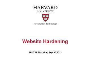 Website Hardening
