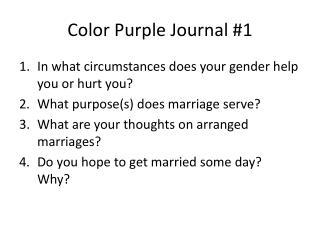 Color Purple Journal #1