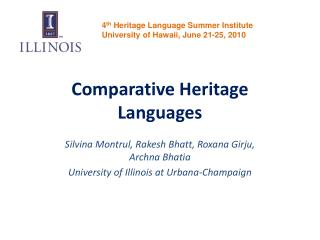 Comparative Heritage Languages
