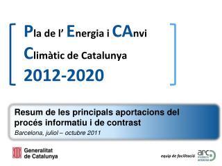 P la de l' E nergia i  CA nvi  C limàtic de Catalunya  2012-2020