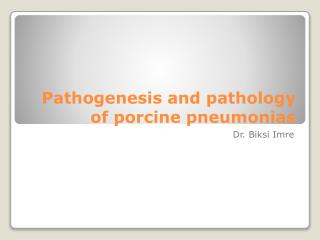 Pathogenesis and pathology of porcine pneumonias