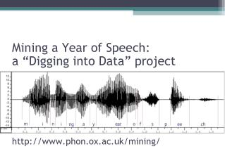 "Mining a Year of Speech: a ""Digging into Data"" project http://www.phon.ox.ac.uk/mining/"