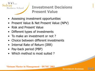Investment Decisions Present Value