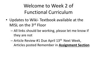 Welcome to Week 2 of  Functional Curriculum