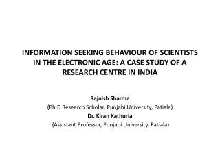 Rajnish Sharma ( Ph.D  Research Scholar, Punjabi University, Patiala) Dr.  Kiran Kathuria