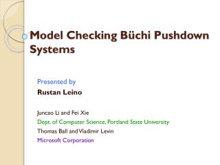Model Checking  Büchi  Pushdown Systems