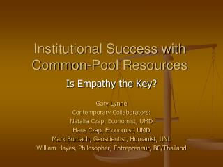 Institutional Success with Common-Pool Resources
