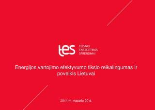 Energijos vartojimo efektyvumo tikslo reikalingumas ir poveikis Lietuvai