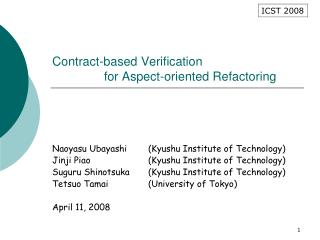Contract-based Verification                for Aspect-oriented Refactoring
