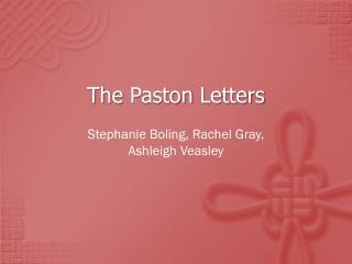 The  Paston  Letters