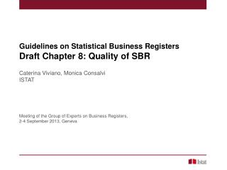 Guidelines  on Statistical Business  Registers  Draft  Chapter  8: Quality of SBR