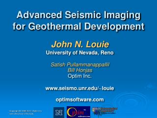 Advanced Seismic Imaging for Geothermal Development