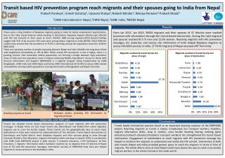 Transit based HIV prevention program reach migrants and their spouses going to India from Nepal