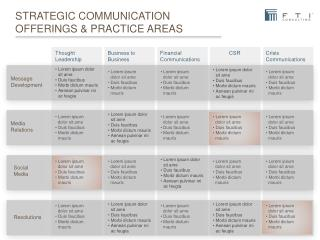 Strategic communication offerings & practice areas