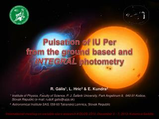 Pulsation of IU Per from the ground based and  INTEGRAL  photometry
