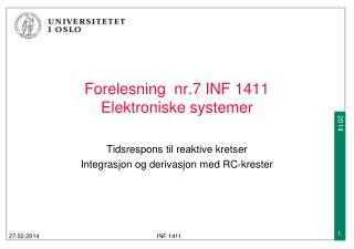 Forelesning  nr.7 INF 1411  Elektroniske systemer