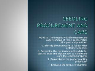 Seedling procurement and care