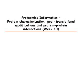 Proteomics Informatics –