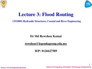 Lectu r e  3 : Flood Routing