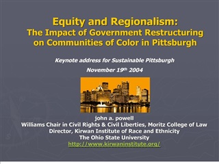 Equity and Regionalism:  The Impact of Government Restructuring on Communities of Color in Pittsburgh