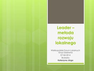 Leader – metoda rozwoju lokalnego