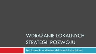 Wdrażanie lokalnych Strategii Rozwoju