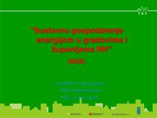 """""""Sustavno  gospodarenje energijom u gradovima i županijama  RH"""" (SGE)"""