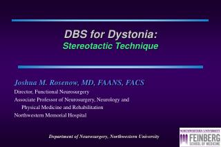 DBS for Dystonia : Stereotactic Technique