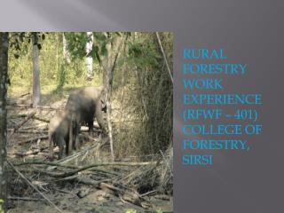 RURAL FORESTRY WORK EXPERIENCE (RFWF � 401) COLLEGE OF FORESTRY,  SIRSI