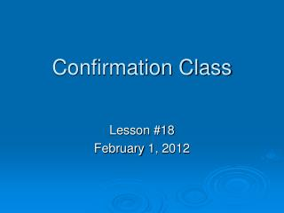Confirmation Class