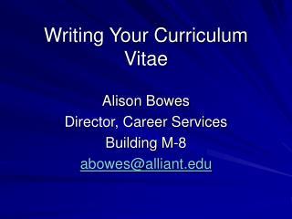 Writing Your Curriculum Vitae