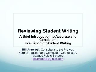 Reviewing Student Writing