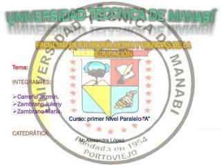 UNIVERSIDAD T�CCNICA DE MANAB�