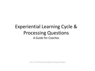 Experiential Learning Cycle & Processing Questions A Guide for Coaches